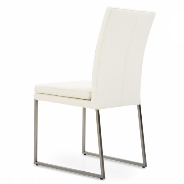 Tess Dining Chair in White Leather, Back