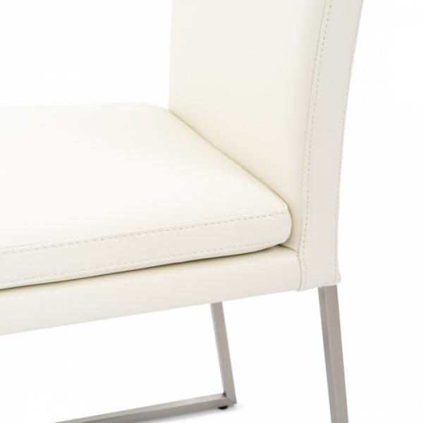 Tess Dining Chair in White Leather, Close Up
