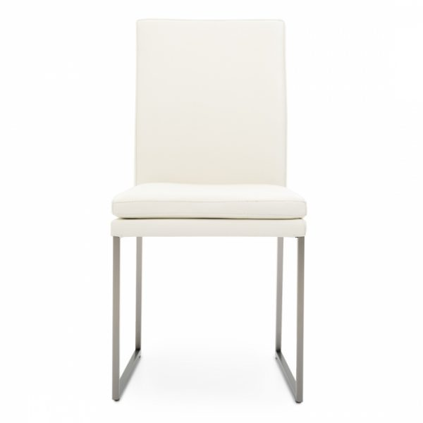 Tess Dining Chair in White Leather, Front