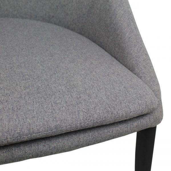Tori Dining Chair in Light Grey Fabric, Close Up