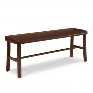 Tulip Dining Bench in Black Walnut, Angle