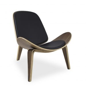 Vega Chair with Black Leather, Angle