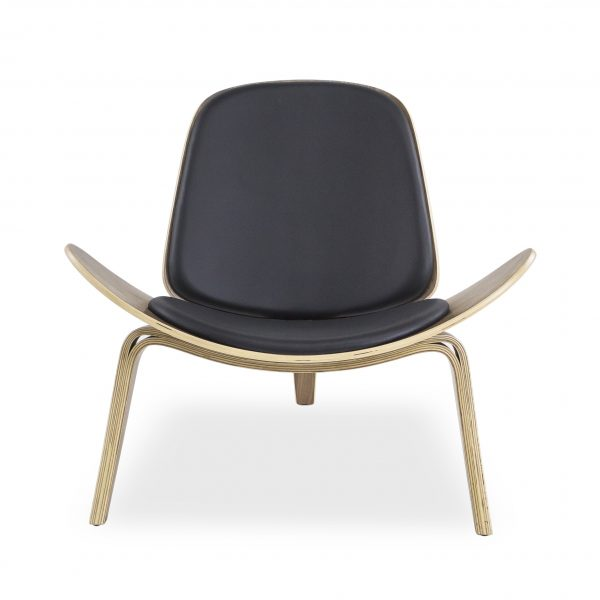 Vega Chair with Black Leather, Front