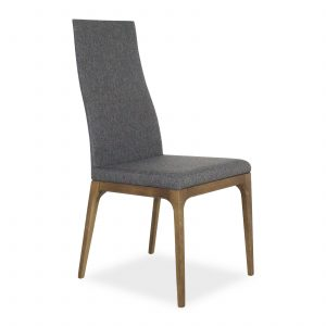 Victoria Dining Chair in Light Grey Fabric with Walnut, Angle Front