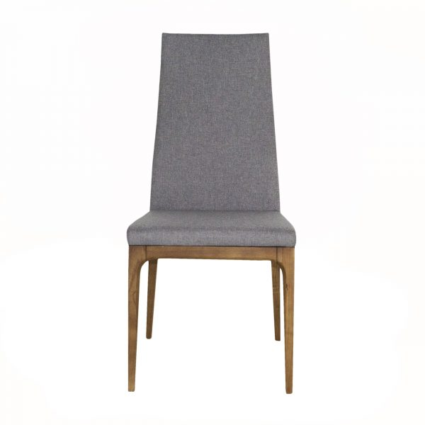 Victoria Dining Chair in Light Grey Fabric with Walnut, Front