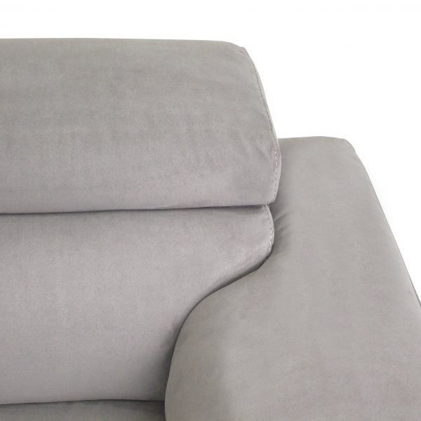 Wallace Sectional in Silver Grey Fabric, Close Up