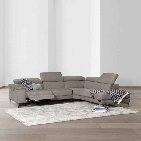 Wallace Sectional in Silver Grey Fabric in Living Room