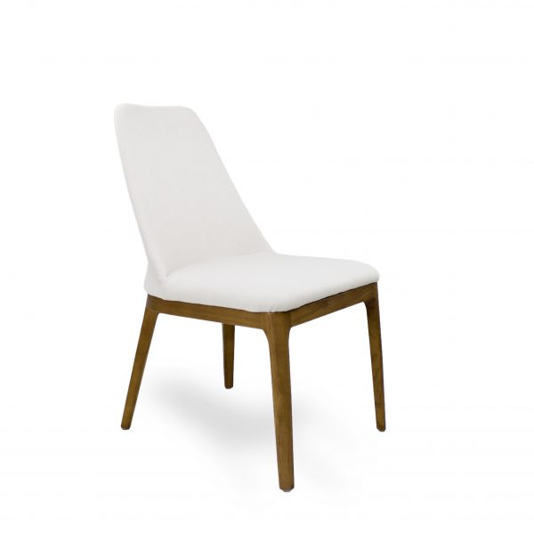 Will Dining Chair in Beige Fabric, Side Angle