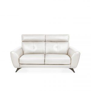 Hans Sofa Light Grey Leather, Front