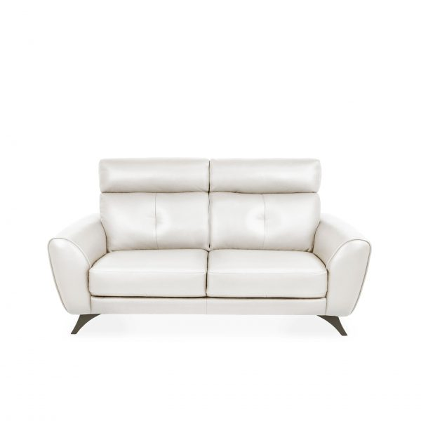Hans Sofa Light Grey Leather, Front