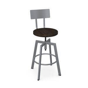 Amisco Architect Screw Stool, Wood Seat, Front