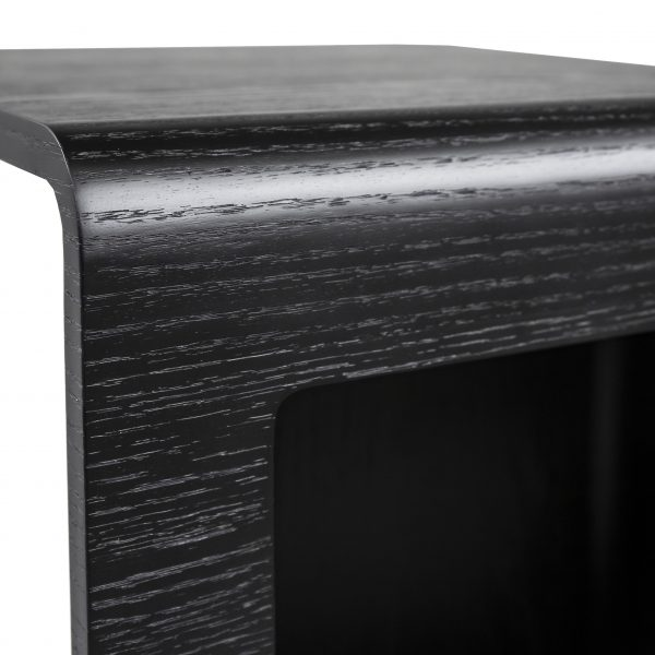 Archer Side Table in Black Oak, Close Up