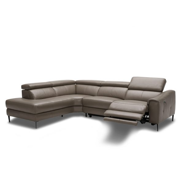 Barclay Sectional in Grey M8 Leather, Angle, Reclined, SL