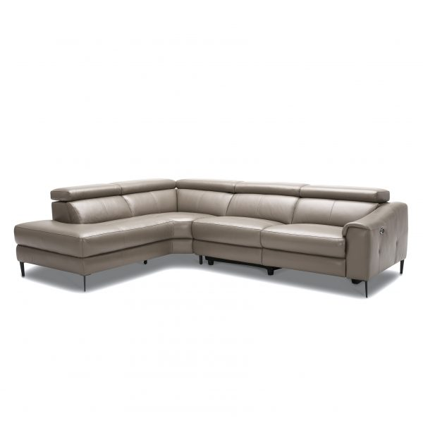 Barclay Sectional in Grey M8 Leather, Angle, SL