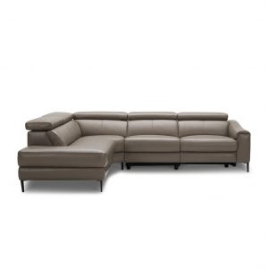 Barclay Sectional in Grey M8 Leather, Straight, SL