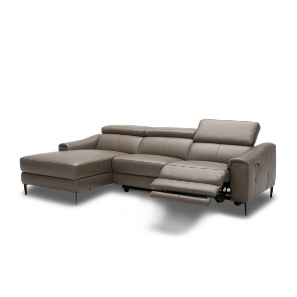 Barclay Sectional Small in Grey M8 Leather, Angle, Reclined, SL