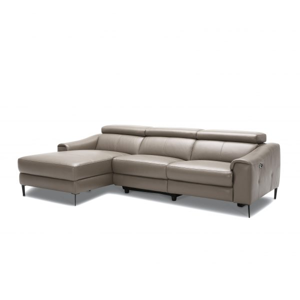 Barclay Sectional Small in Grey M8 Leather, Angled, SL