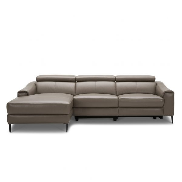Barclay Sectional Small in Grey M8 Leather, Straight, SL