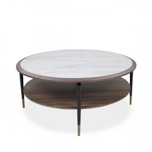 Caleb Round Coffee Table in Walnut with White Ceramic Top, Straight