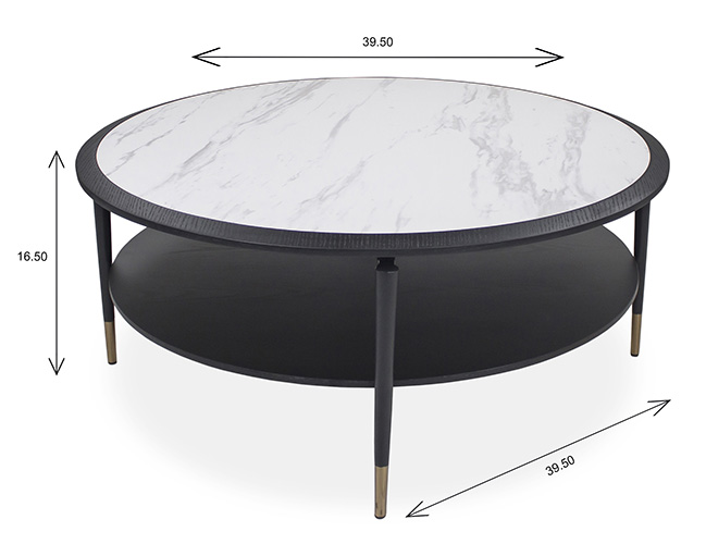 Caleb Round Coffee Table with Dimensions