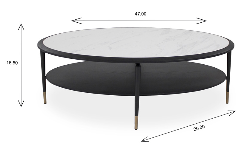 Caleb Oval Coffee Table with Dimensions