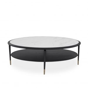 Caleb Oval Coffee Table in Wenge and White Ceramic, Straight