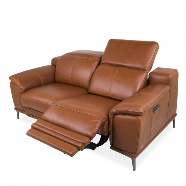Camilla Loveseat in New Club Warm Brown Leather, Reclined, Angle