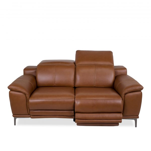 Camilla Loveseat in New Club Warm Brown Leather, Reclined, Front