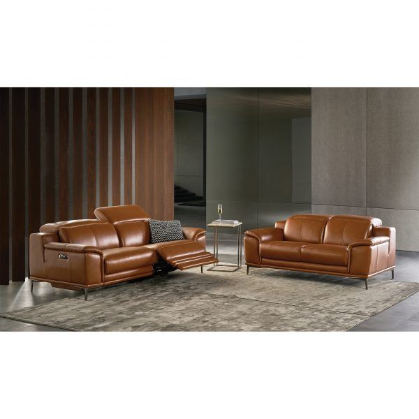 Camilla Sofa and Loveseat in New Club Warm Brown Leather in Living Room