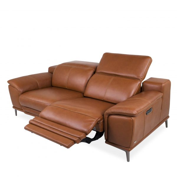 Camilla Sofa in New Club Warm Brown Leather, Reclined, Angle