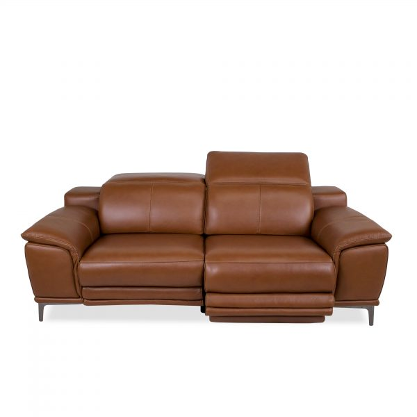 Camilla Sofa in New Club Warm Brown Leather, Reclined, Front
