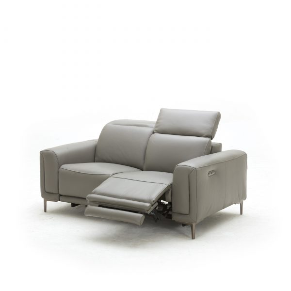 Cardero Loveseat in Dark Grey M55 Leather, Angle, Reclined