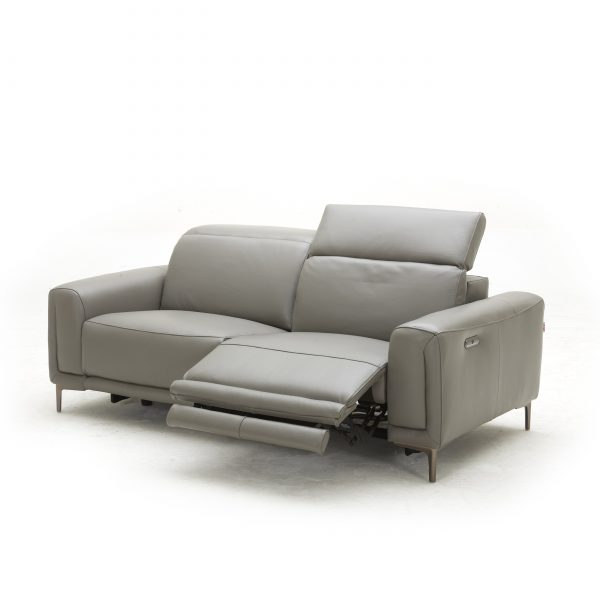 Cardero Sofa in Dark Grey M55 Leather, Angle, Reclined