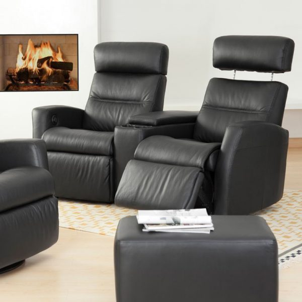 IMG Divani Theatre Seating (AV) in Trend Graphite, Recliner Out, In Living Room