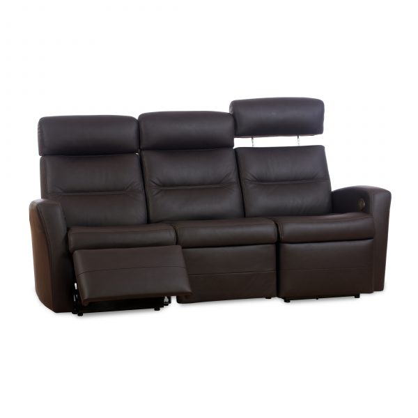 IMG Divani Sofa in Trend Chocolate, Headrest Up, Footrest Out