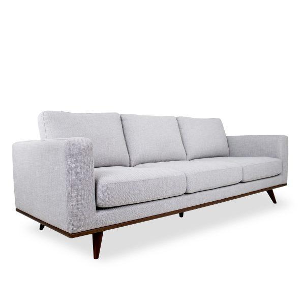 Freeman Sofa in Platinum Fabric and a Walnut Base, Angle