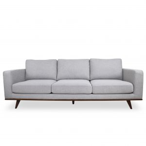Freeman Sofa in Platinum Fabric and a Walnut Base, Front