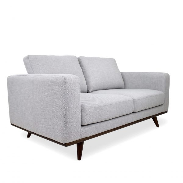 Freeman Loveseat in Platinum Fabric and a Walnut Base, Angle