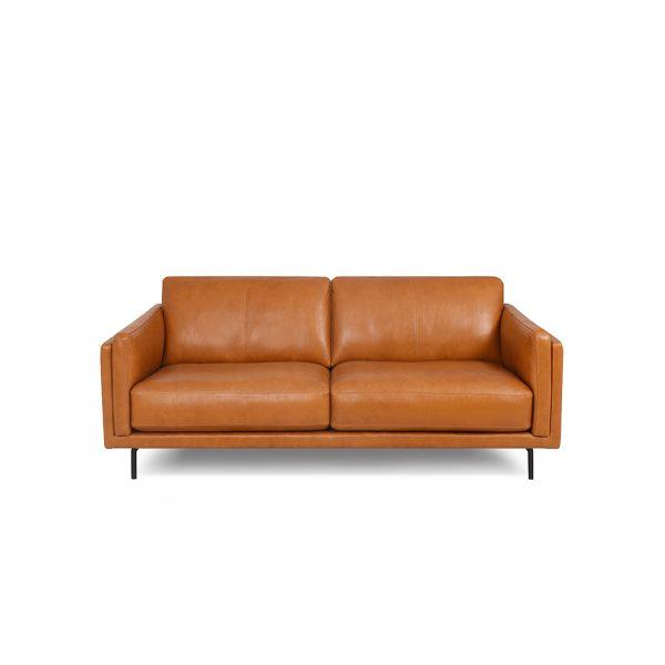 Jesper Loveseat in Silky Caramel Leather, Front