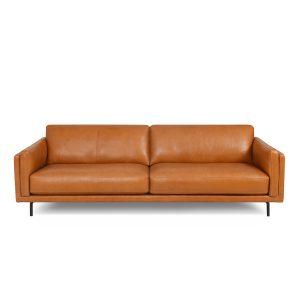 Jesper Sofa in Silky Caramel Leather, Front