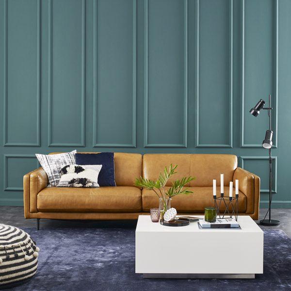 Jesper Sofa in Silky Caramel Leather in Living Room