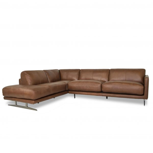Larsen Sectional in Silky Cumin Leather, Angle, SL