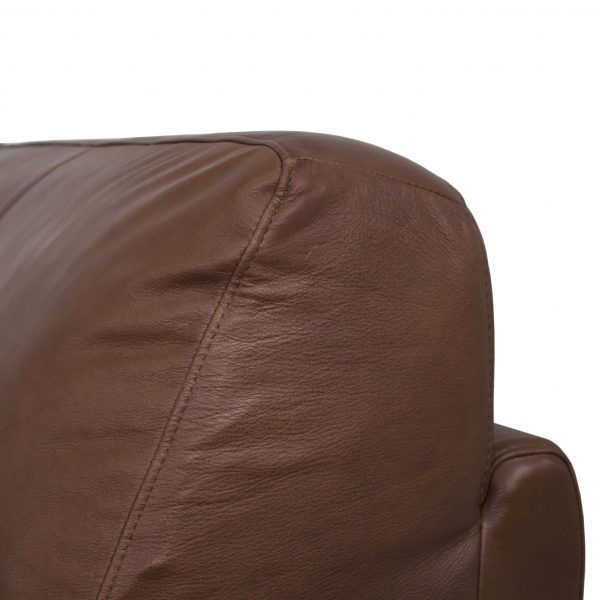 Larsen Sectional in Silky Cumin Leather, Close Up