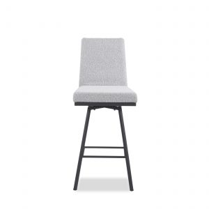 Linea Swivel Stool in Merino and Black Coral, Front