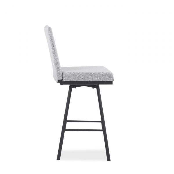 Linea Swivel Stool in Merino and Black Coral, Side