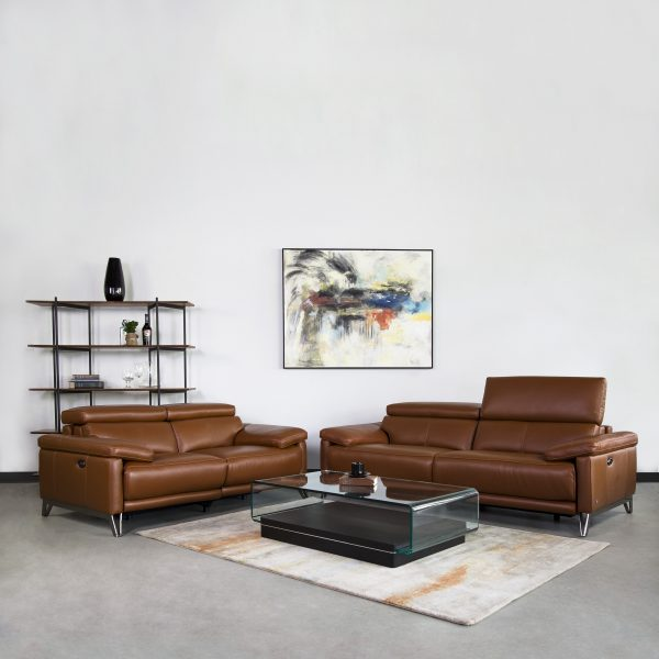 Masison Sofa and Loveseat in New Club Warm Brown in Living Room