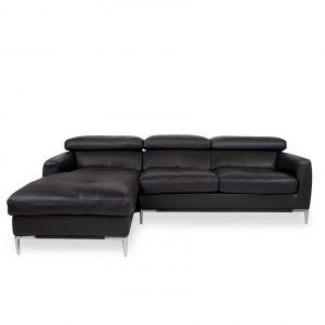 Malmo Sectional in Black Leather, Sectional Left