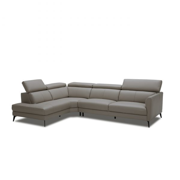 Marki Sectional in Grey M8 Leather, Angle, SL