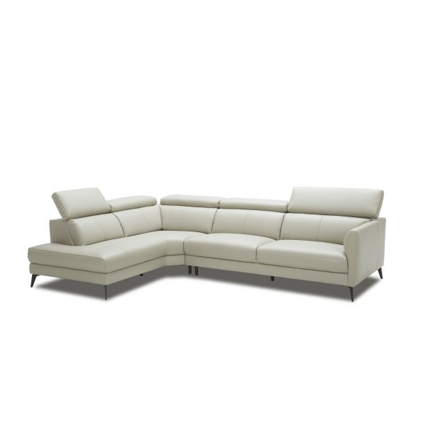 Marki Sectional in Light Grey M Leather, Angle, SL