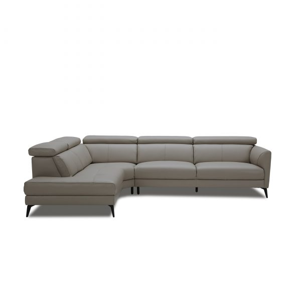 Marki Sectional in Grey M8 Leather, Straight, SL